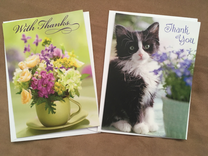 2 BLANK EXPRESSION THANK YOU CARDS BY HALLMARK