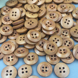 100 Wood Buttons Sewing 4 Holes Round Brown Dia Clothing