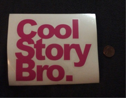 Pink cool story bro sticker