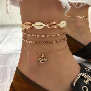 4Pcs Fashion Charm Geometric Shell Crystal Bee Chain Anklet Gold Anklets Women Exquisite Summer