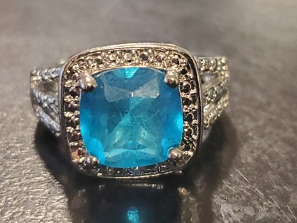 FREE NEW AQUAMARINE GEMSTONE SILVER FASHION COCKTAIL RING - SIZE 5 FIVE WOMENS / LADIES