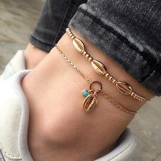 Multilayer Shell Anklet for Women Foot Jewelry Summer Beach Barefoot Seashell Bracelet Ankle On Leg