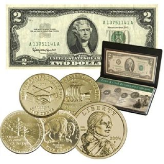 Lewis & Clark Bicentennial 24k Gold Plated Coin and Currency Banknote Collection