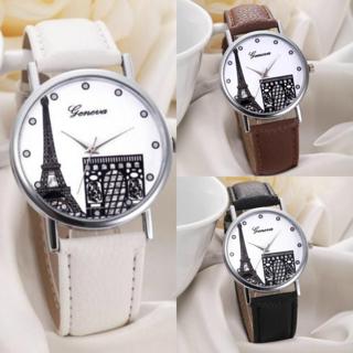 Women Geneva Eiffel Tower Dial Leather Band Analog Quartz Wrist Watch Watches