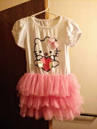 Hello kitty TuTu. White & Pink Dress Size 3T Girl's Toddler Very Cute Super Nice, Free Shipping