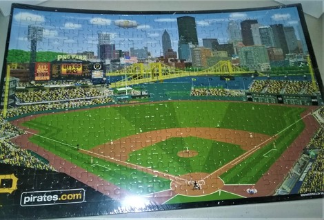 """Fully-assembled 336-piece 12"""" x 18"""" puzzle of PNC Park, home of MLB Pittsburgh Pirates (2001 - pres)"""