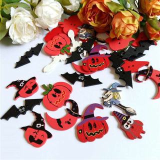 50Pcs Halloween Wooden buttons Mixed Pumpkin Owl Sewing Button Clothing