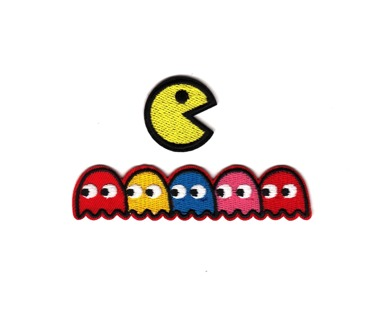 Pac-Man & Ghosts Video Game Embroidered Iron-On Patch