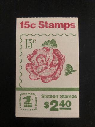 Scott #1737a - Unopened Booklet 15¢ MINT 1978 Rose Stamps, 16 Count, NH