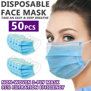 Brand New, 50pc/Box Disposable Face Mask, 100pc/Box Large Exam Gloves & Hand Sanitizer