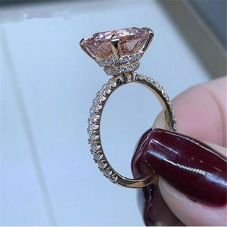 Elegant Princess Cut Champagne Topaz 18k Rose Gold Wedding Ring Anniversary Gift