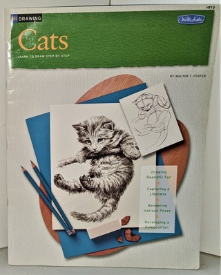 "2003 DRAWING CATS by Walter Foster - softcover 32 large pages - 10"" x 13 3/4"" - great condition"
