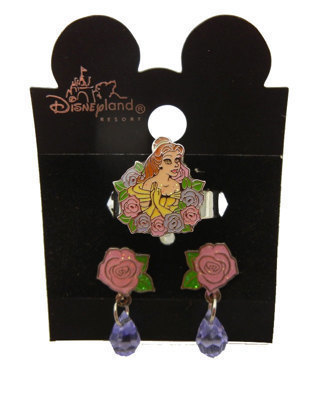 AUTHENTIC DISNEY BELLE EARRING & RING SET NEW TWO PIECE SET ON DESIGNER CARD NICE QUALITY