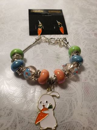 Euro Braclet ♡♡ Carrot Bunny ♡♡ Braclet and Earrings