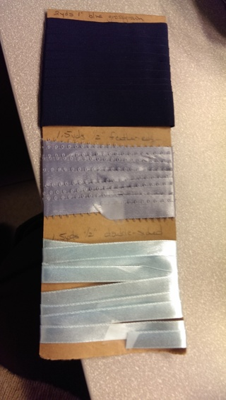 3 pieces of ribbon in shades of blue