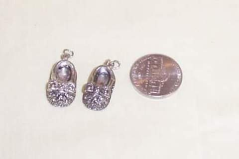 Silver Tone Baby Shoe Charms