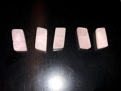 Five Rose Quartz Crystal Beads