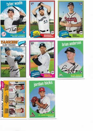 (8) 2018 Topps Archives Rookie Baseball Cards