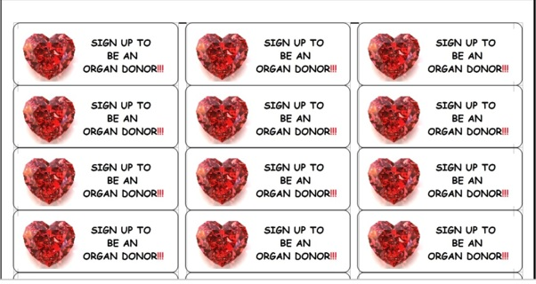 ORGAN DONOR STICKERS - 3 SHEETS - FREE SHPG :D #2