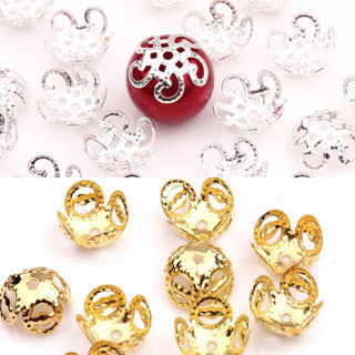 100PCs New Gold Silver Plated Five Flower Metal Bead Caps Jewelry Making DIY 10X4mm