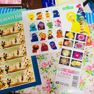 Labor Day Sale 3 Books of FOREVER USPS STAMPS Sesame Street, Cactus Flowers and State & County Fair