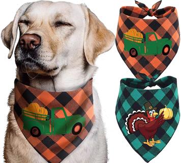 Thanksgiving Dog Bandana - Pack of 2 Thanksgiving Bandanas for Dogs