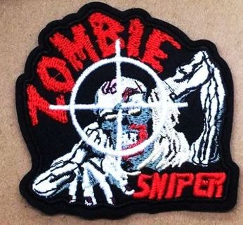 NEW ZOMBIE SNIPER PATCH IRON ON ADHESIVE EMBROIDERED FREE SHIPPING