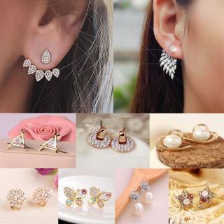 1 Pair Fashion Women Elegant Crystal Rhinestone Pearl Ear Stud Earrings Charms