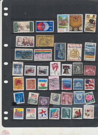 (40+5 Bonus) Stamps from the United States,  All Different, Vintage, Used, Cancelled - US-1028
