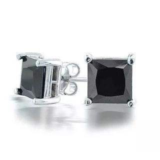 925 8mm Black unisex CZ Earrings