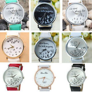 Fashion Women Leather Special Letters Quartz Analog Casual Wrist Watches Men HOT