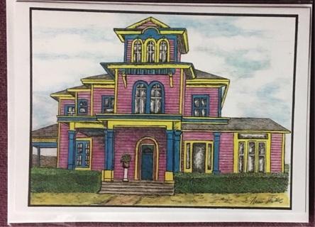 "FUCHIA HOUSE  - 5 x 7"" Art Card by artist Nina Struthers - GIN ONLY"