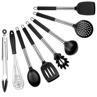 Kitchen Cooking Utensils Set- 8 Piece Silicone Kitchen Spatula Set - Black Professional BPA F