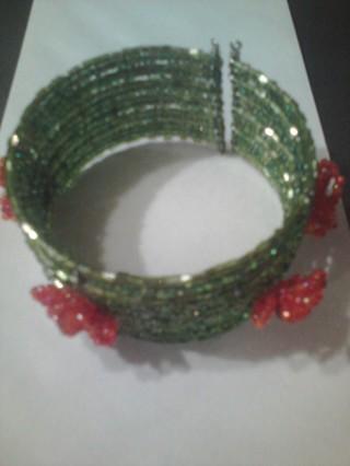 Green Beaded Cuffed Bracelet