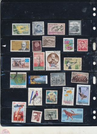 (25) Stamps from All Around the World,  All Different, Vintage, Used, Cancelled - WW-297
