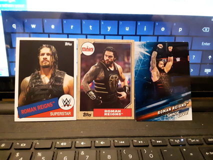 3 WWE ROMAN REIGNS WRESTLING CARDS