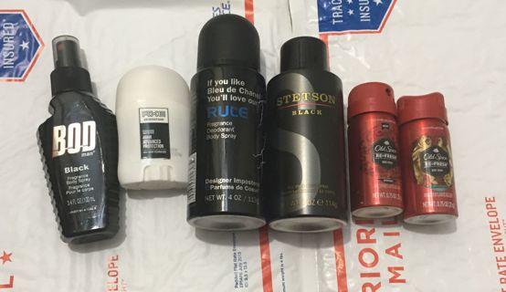 NEW Men's Fragrance LOT Axe Old Spice Stetson BOD Mini Deodorant fragrances FREE SHIPPING