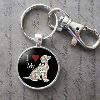 Charm I Love My Dog Glass Cabochon Key Chain Pendant Accessories Jewelry