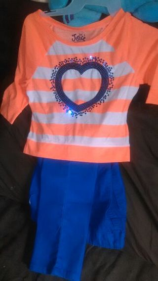 Girls size 12 skinny jeans with matching top. Just! Too Cute!! :-)