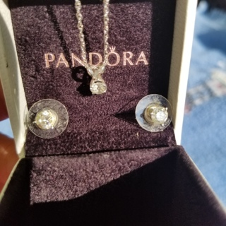 Diamond necklace & earrings + box