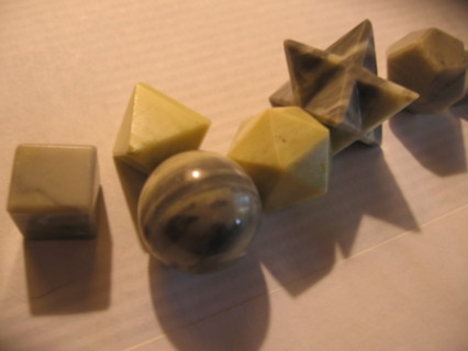 Serpentine Stone 7 Pcs Geometry Set Reiki Healing Crystal Spiritual