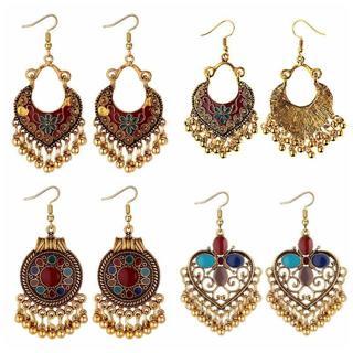 Fashion Boho Drop Long Earrings Gold Carved Ethnic Earrings For Women Jewelry