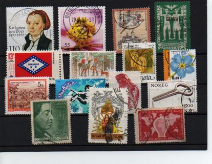 pot of luck: 15 stamps from 12 different countries B-RO-S1#1