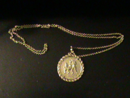 """1776-1976 Bicentennial Dollar Coin Necklace with 36"""" Goldtone Chain"""
