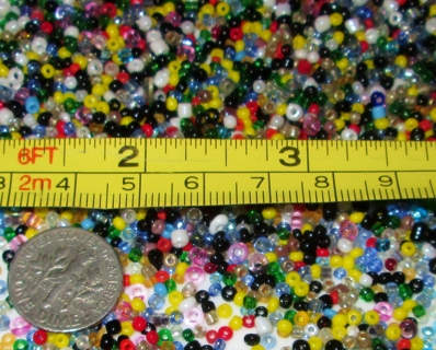 100 teeny tiny glass seed beads  mix colors and sizes