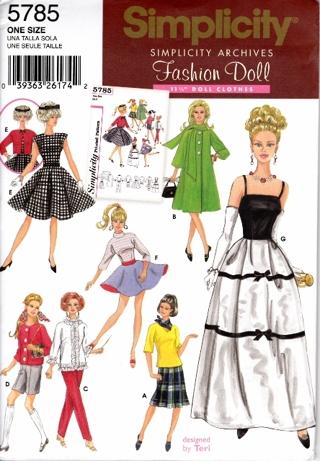 Free: BARBIE PATTERN SIMPLICITY 5785 SEWING PATTERN - Sewing ...