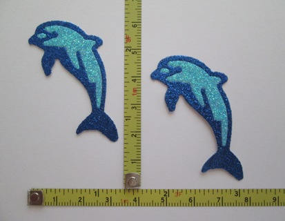 """CUTE GLITTER """"DOLPHIN"""" DIE-CUTS (NEW) !!! ~ FREE SHIPPING FROM CANADA !!!"""