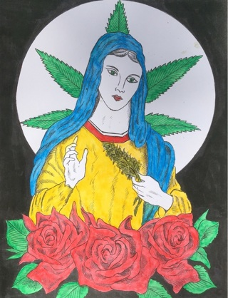 "BLESS THIS WEED - 5 x 7"" Art Card by artist Nina Struthers - GIN ONLY"