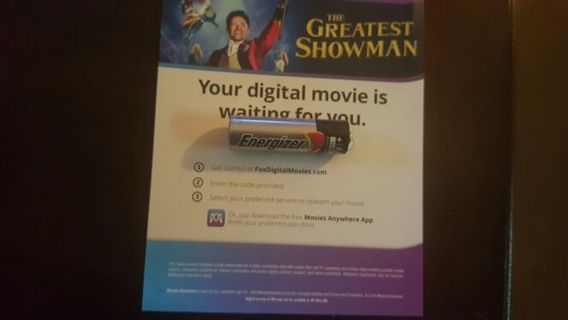 The Greatest Showman digital code movies anywhere