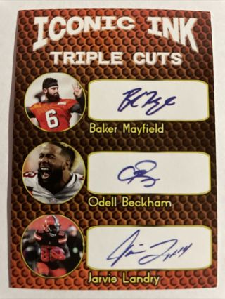 BAKER MAYFIELD, ODELL BECKHAM JR, NICK CHUBB Triple Cuts FAC Auto Browns ACEO